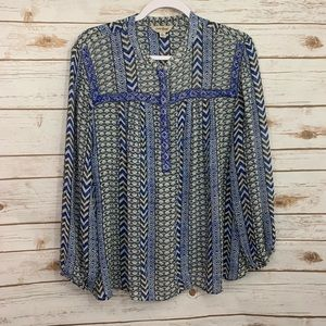 Lucky Brand Blue Embellished Sheer Boho Top